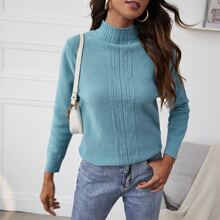 Funnel Neck Ribbed Knit Sweater