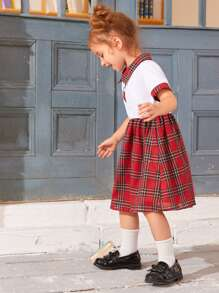 Toddler Girls Tartan Polo Neck Combo Dress
