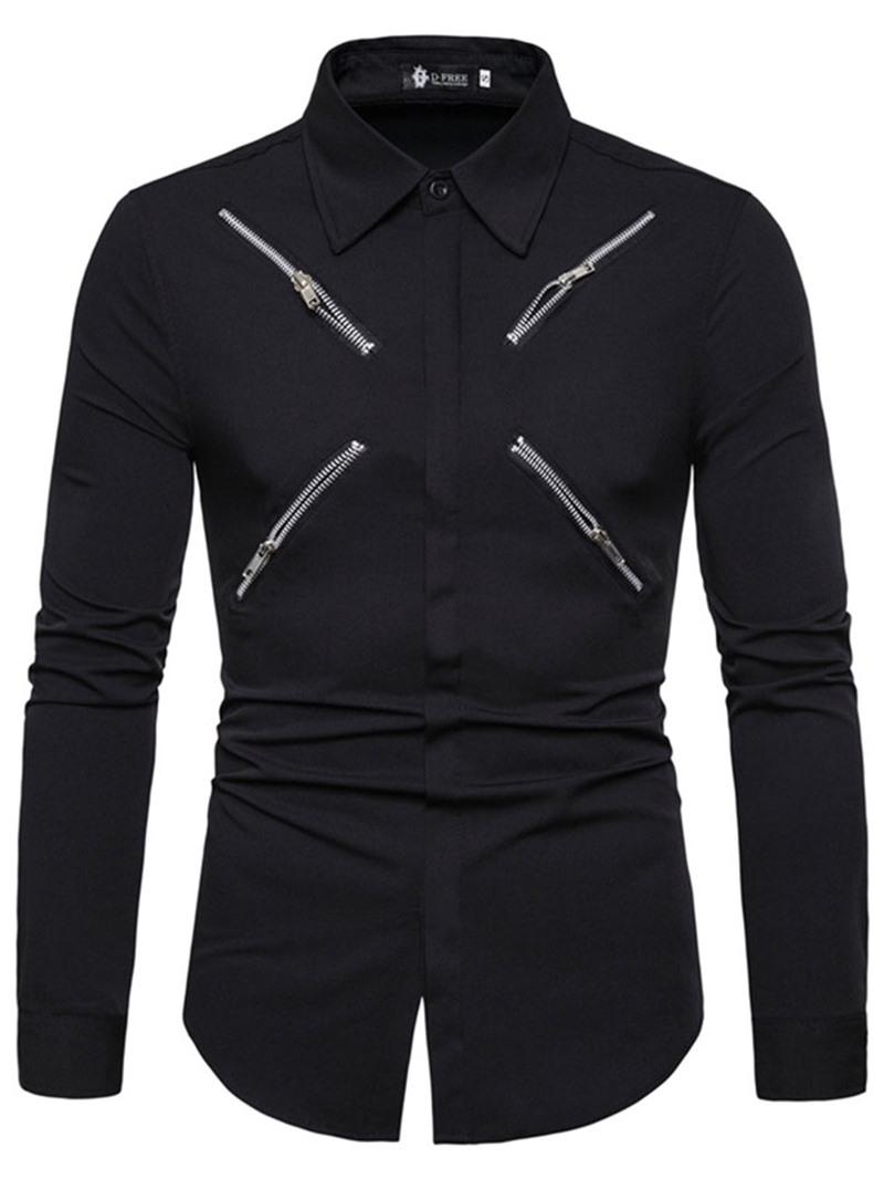 Ericdress Pocket Fashion Plain Mens Slim Summer Shirt