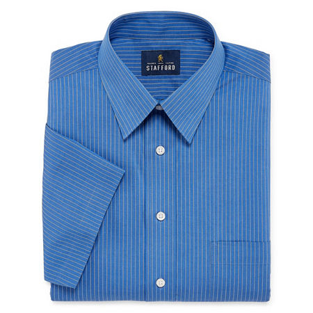 Stafford Mens Short Sleeve Wrinkle Free Stain Resistant Stretch Super Shirt Big and Tall Dress Shirt, 19 , Blue