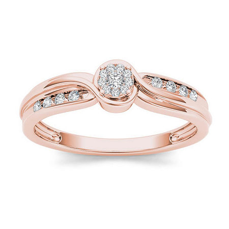 1/10 CT. T.W. Diamond 10K Rose Gold Engagement Ring, 7 1/2 , No Color Family