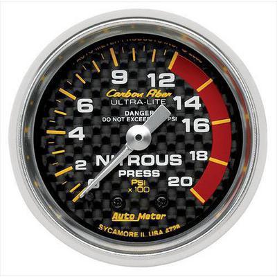 Auto Meter Carbon Fiber Mechanical Nitrous Pressure Gauge - 4728
