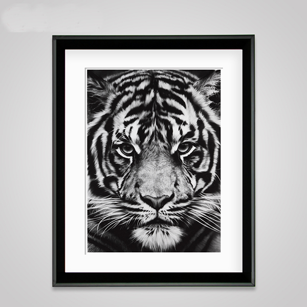 Modern Creative Black Tiger Head Pattern Wall Art Print