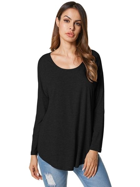 Yoins Dorimis Scoop Neck Long Sleeves Tee