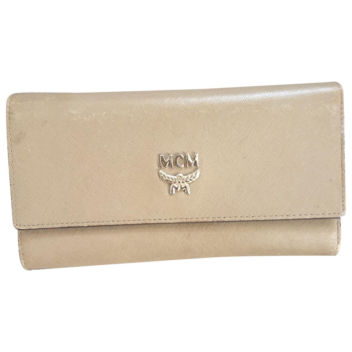 Mcm - Portefeuille   pour femme en cuir - beige