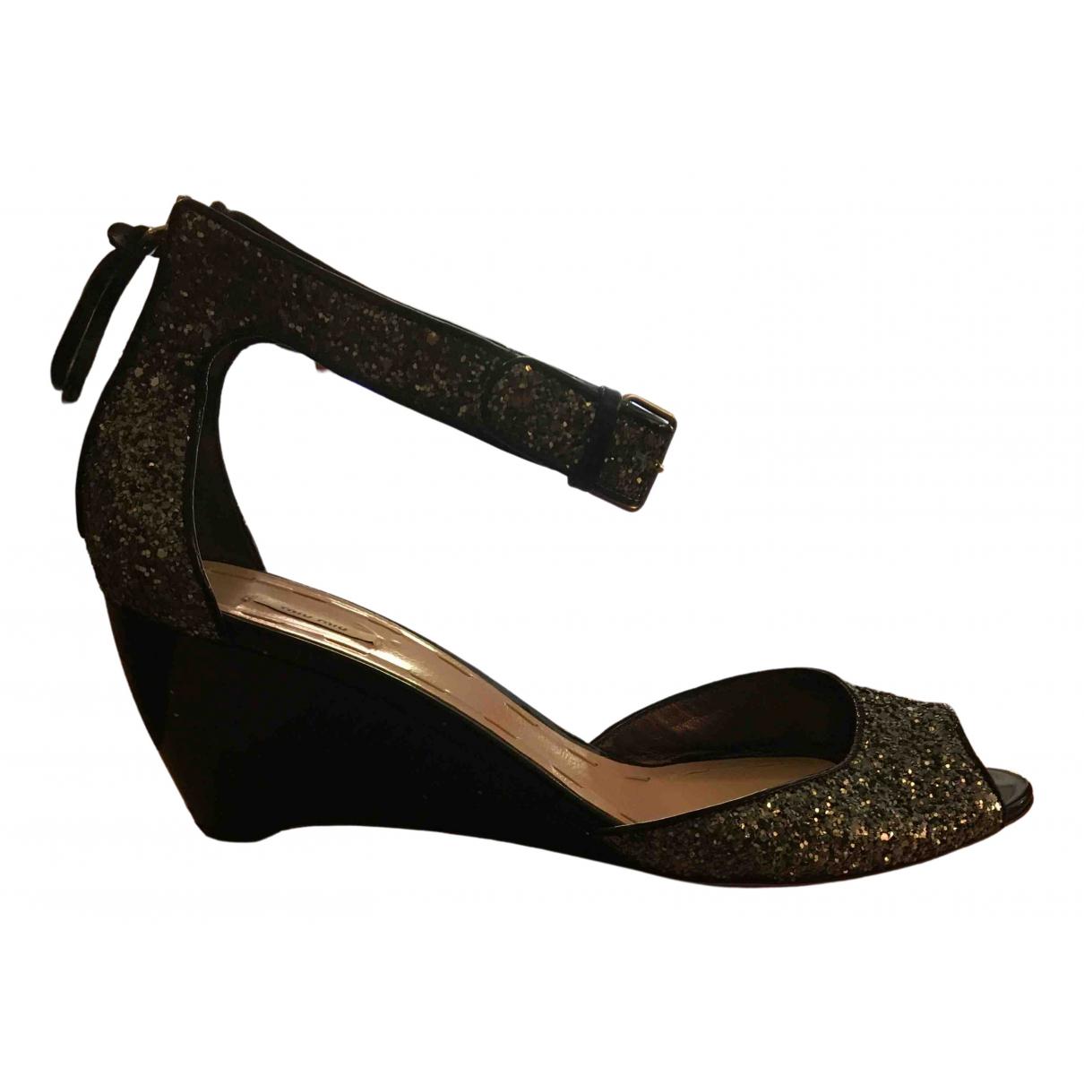 Miu Miu N Blue Leather Sandals for Women 40 EU