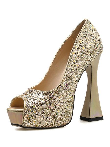 Milanoo Glitter Prom Shoes Platform Peep Toe Spool Heel Party Shoes