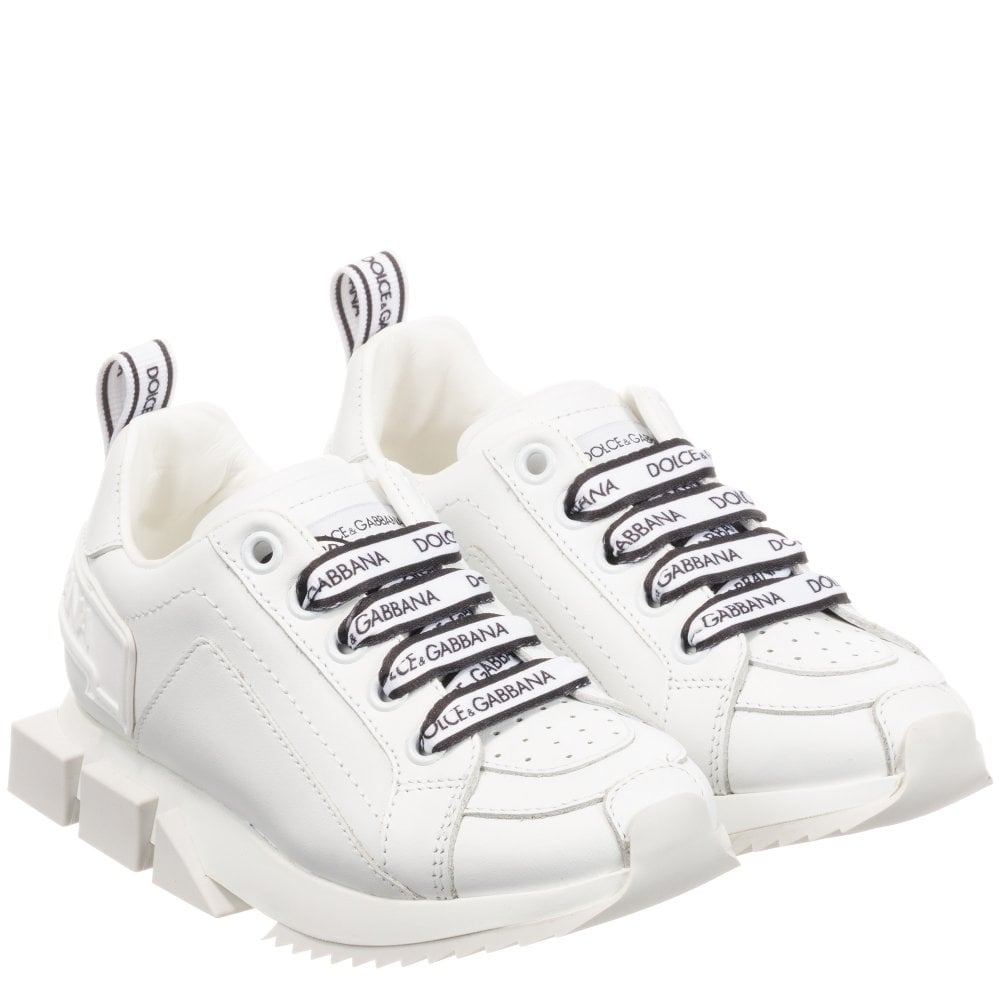 Dolce & Gabbana Leather Logo Trainers Size: EU35, Colour: WHITE
