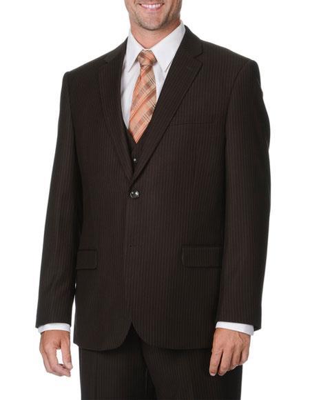 Caravelli Men's 2 Button Brown Pinstripe Vested Double Vent Suit