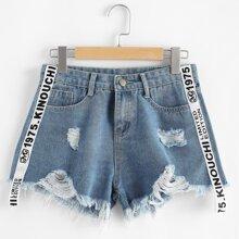 Shorts denim bajo crudo rotos con cinta con letra