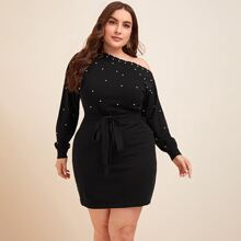 Plus Asymmetrical Neck Pearls Detail Belted Sweater Dress