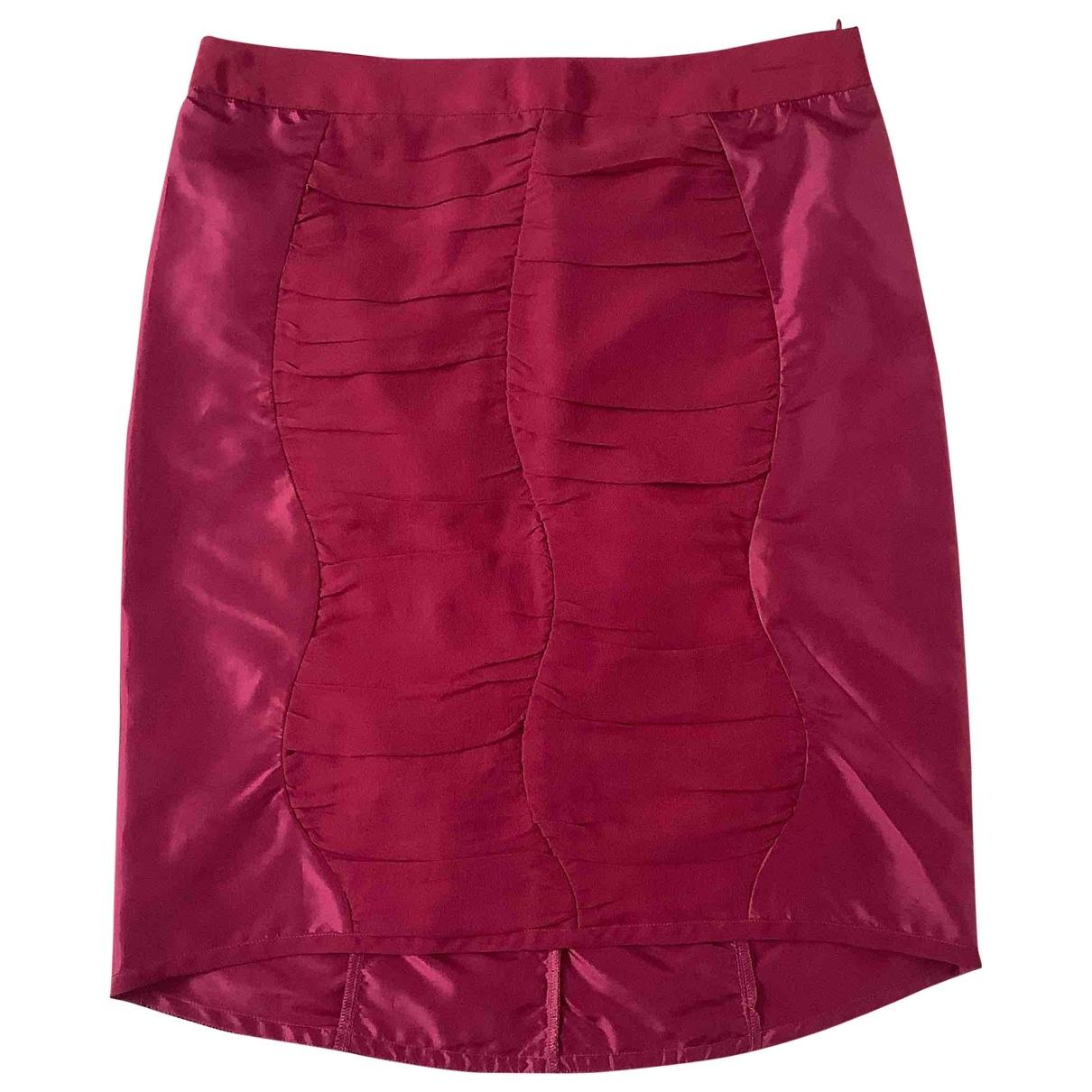 Costume National - Jupe   pour femme en soie - bordeaux