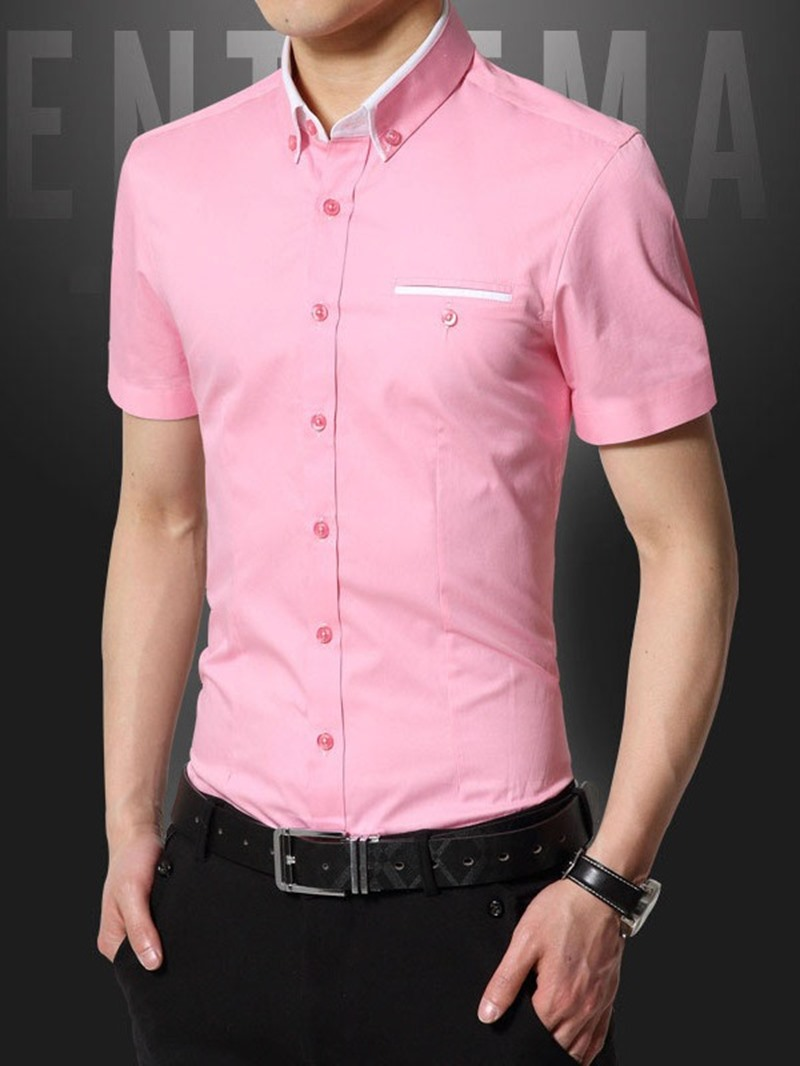 Ericdress Casual Lapel Single-Breasted Mens Shirt