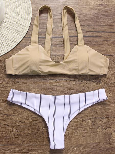 Yoins Apricot Scoop Neck Sleeveless Bikini