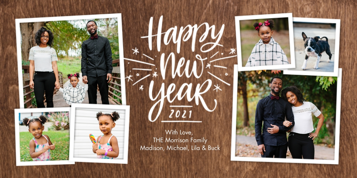 New Year's Photo Cards Flat Glossy Photo Paper Cards with Envelopes, 4x8, Card & Stationery -2021 New Year Sparkling Gold by Tumbalina