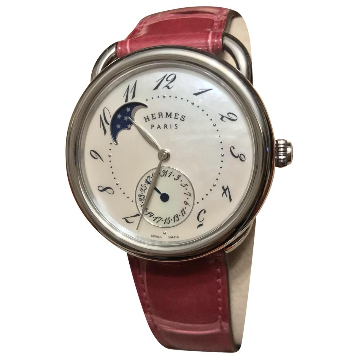 Hermes Arceau Uhr in  Rosa Stahl
