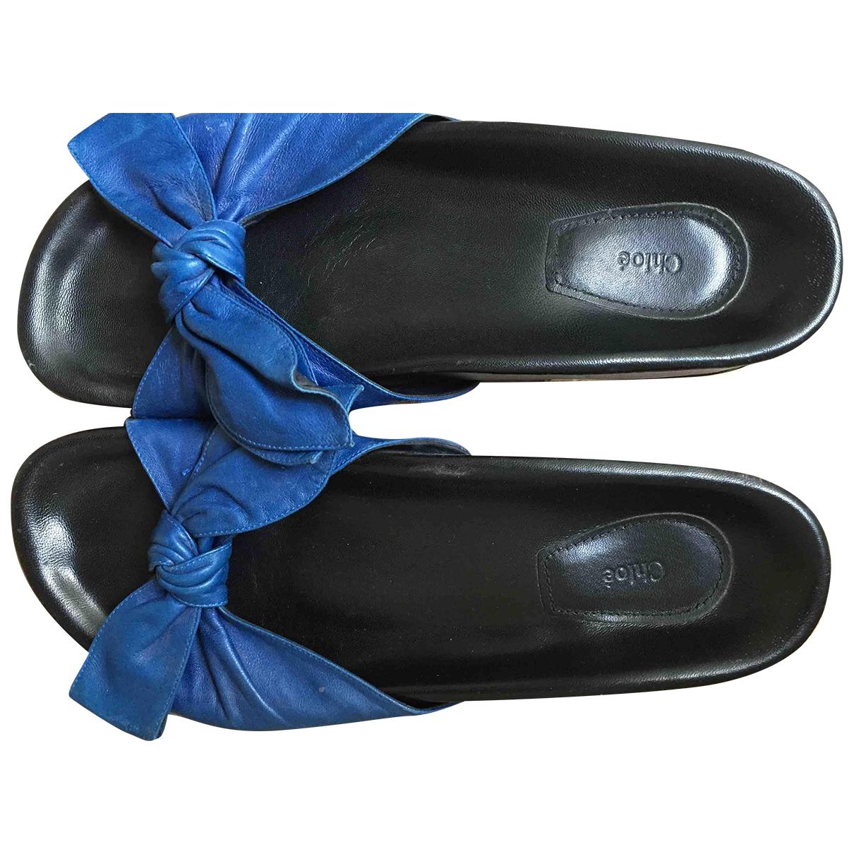 Chloe - Sandales   pour femme en cuir - bleu