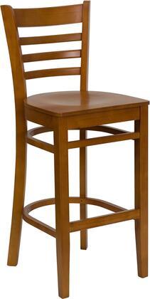 XU-DGW0005BARLAD-CHY-GG HERCULES Series Cherry Finished Ladder Back Wooden Restaurant Bar