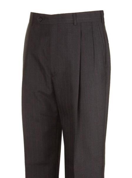 Harwick Clothing Charcoal Striped Wool Blend Pleated Dress Pants