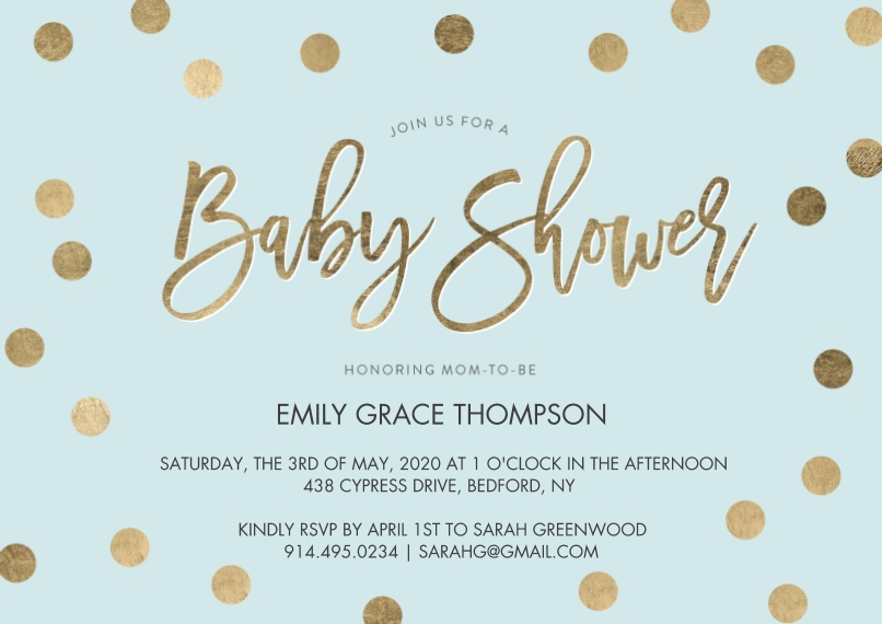 Baby Shower Invitations 5x7 Cards, Standard Cardstock 85lb, Card & Stationery -Baby Shower Gold Dots by Tumbalina