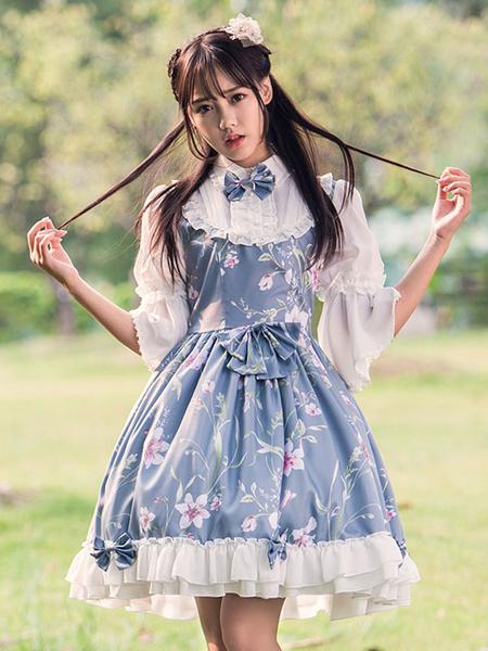 Milanoo Vestido de Lolita de lino estilo dulce con 3/4 manga Fiesta del te Con estampado