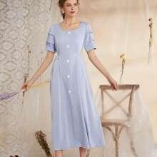 A-Linie Kleid mit quadratischem Kragen und Knopfen vorn