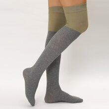 Two Tone Over Knee Length Socks
