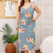Plus Floral Print Slip Dress