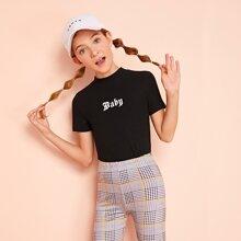 Camiseta de niñas con letra de cuello alto