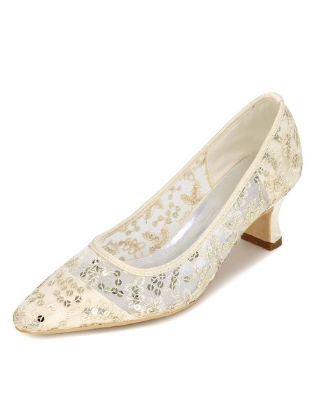 Milanoo Zapatos de novia de malla Zapatos de Fiesta de tacon expandido Zapatos azul  Zapatos de boda de puntera de forma de almendra 5.5cm con bordado