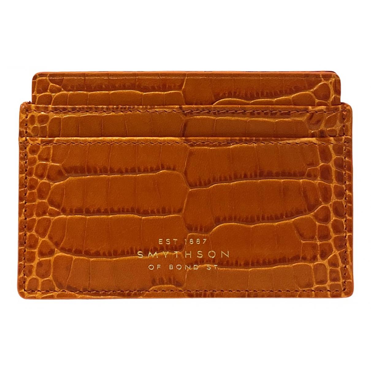 Smythson \N Portemonnaie in  Orange Leder