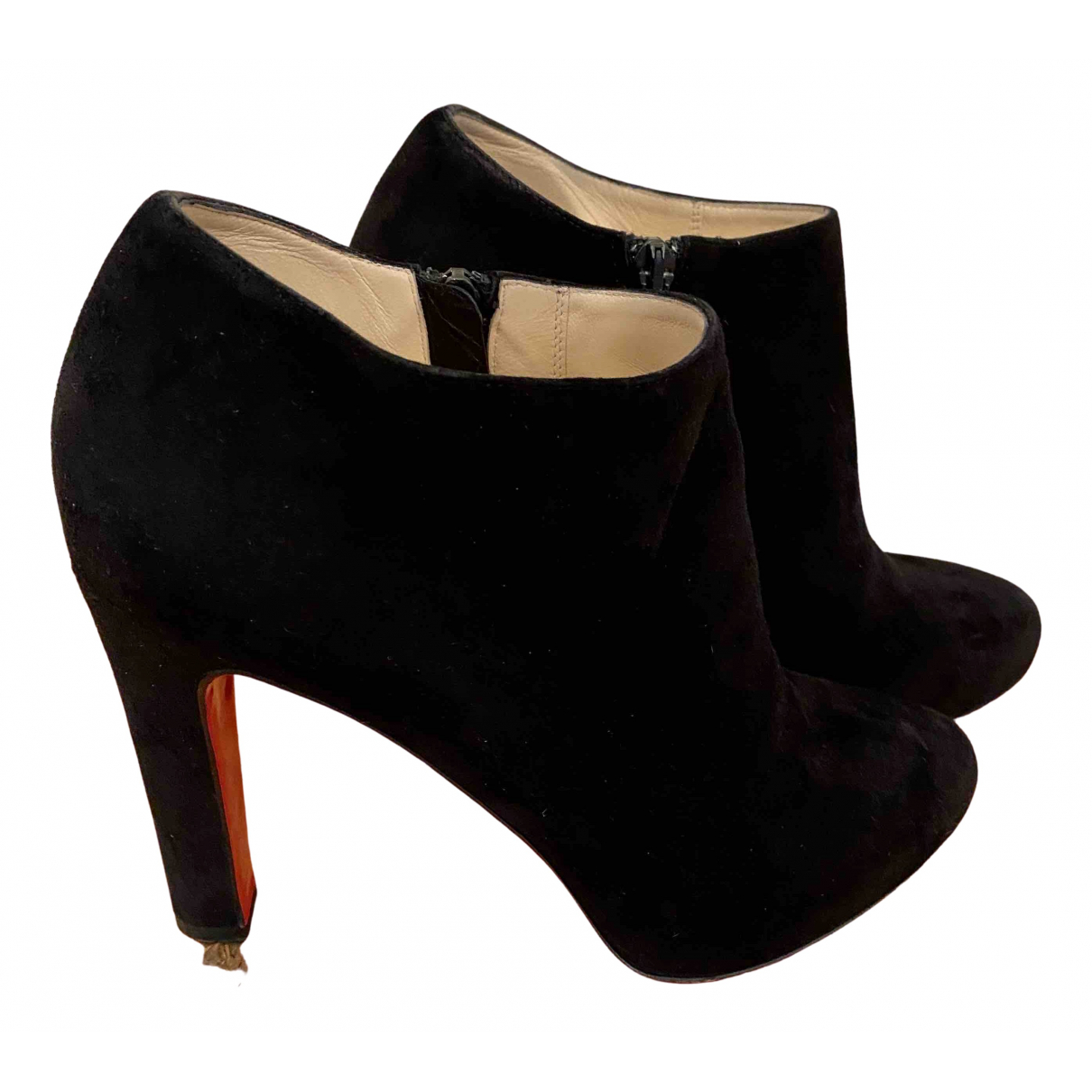Christian Louboutin \N Black Suede Ankle boots for Women 36.5 EU