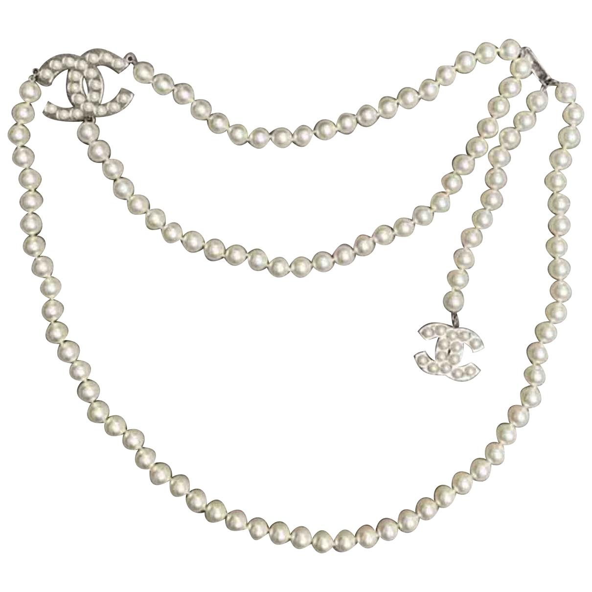 Chanel \N White Pearls belt for Women 85 cm