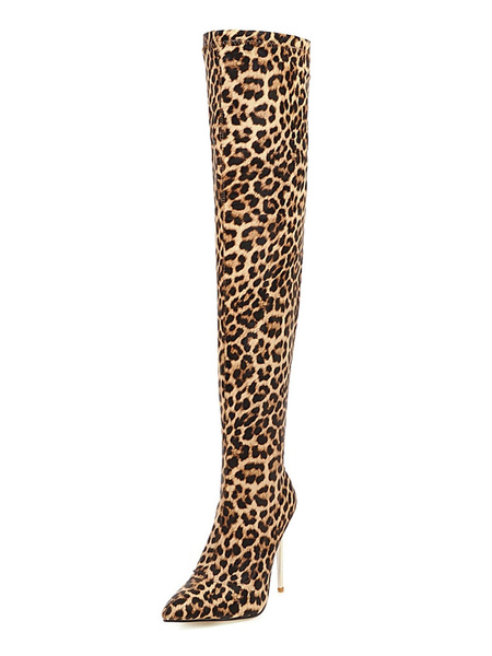 Milanoo Botas altas mujer Marron Piel sintetica de tacon de stiletto de puntera puntiaguada 10cm de dibujos de leopardo Primavera Invierno