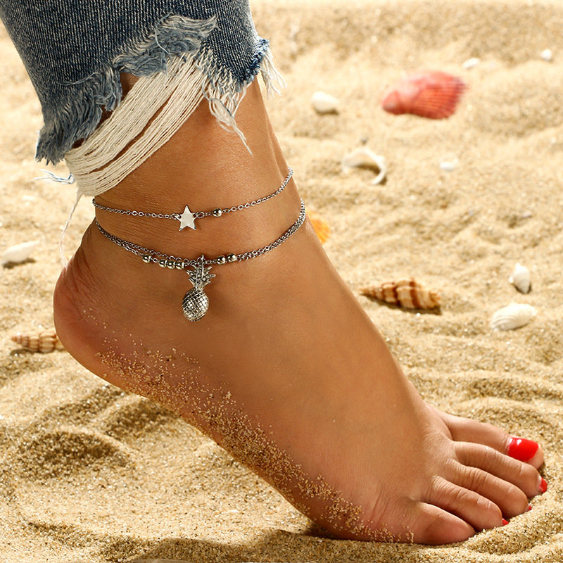 Trendy Pineapple Anklets Alloy Star Anklets Multi-layered Women Anklets