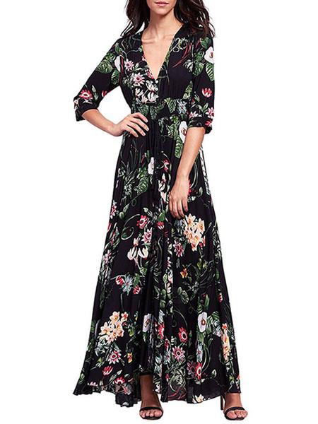 Milanoo Vestido largo color albaricoque  Moda Mujer con 3/4 manga de poliester Vestidos con estampado de flores con cuello en V estilo bohemio Verano