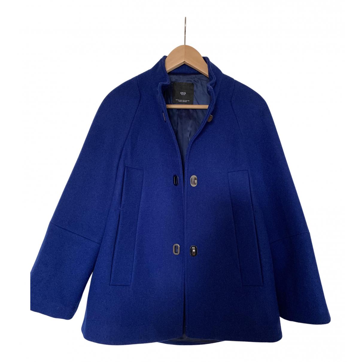 Mango - Manteau   pour femme en laine - bleu