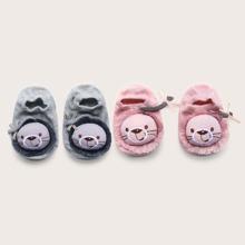 2 pares calcetines de piso de bebe antideslizantes con dibujos animados