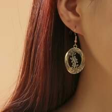 1pair Textured Leaf Drop Earrings