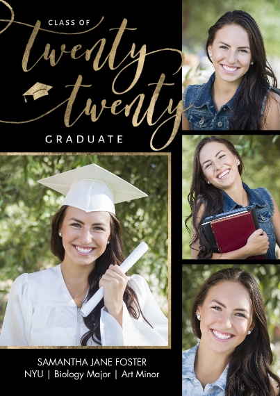 Graduation Announcements Mail-for-Me Premium 5x7 Folded Card , Card & Stationery -Grad Twenty Twenty Memories Script by Tumbalina