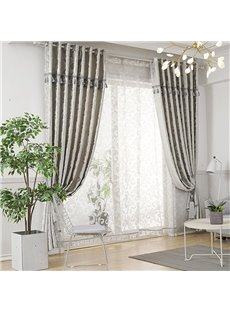 Modern Style White Voile Decorative Polyester 2 Panels Sheer Curtains