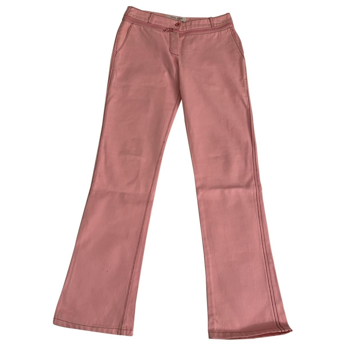 Miu Miu \N Pink Cotton Jeans for Women 40 FR