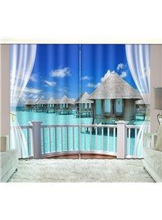 3D Printed Wooden Houses Over the Ocean Through European-Style Balcony Custom Living Room Curtains