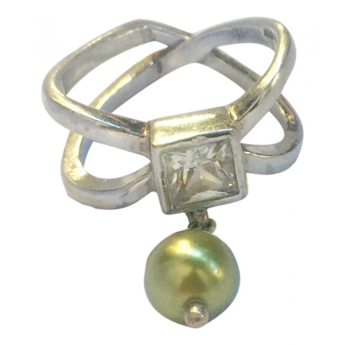 Non Signé / Unsigned N Green Silver ring for Women 56 EU