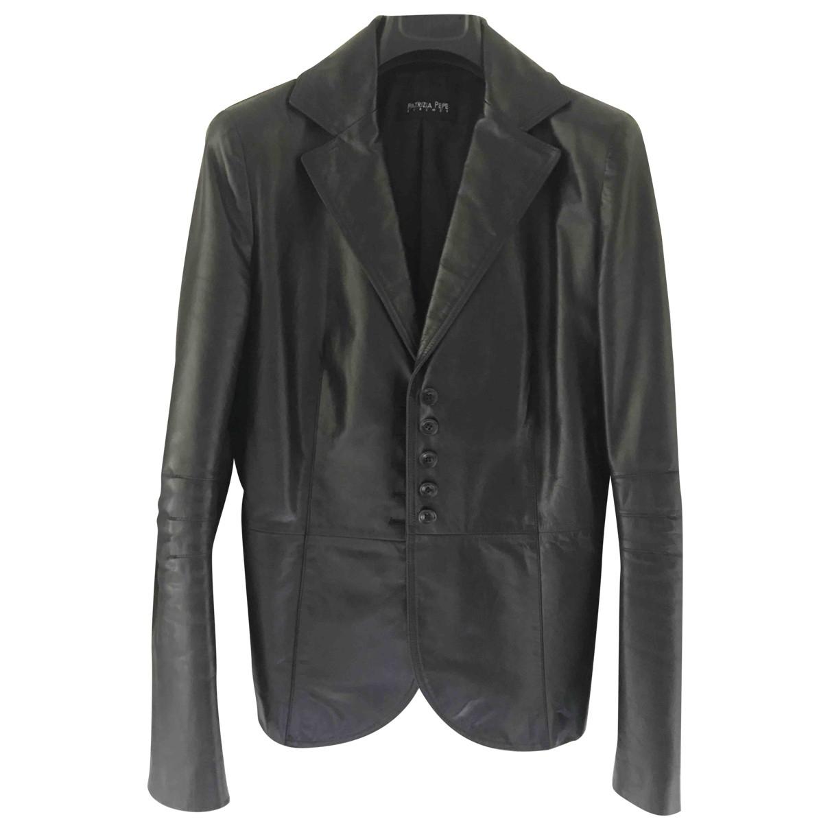 Patrizia Pepe \N Black Leather Leather jacket for Women 44 IT