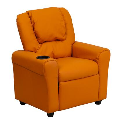 DG-ULT-KID-ORANGE-GG Recliner with Cup Holder Armrest  Oversized Headrest  Contemporary Style  Solid Hardwood Frame Construction and Vinyl Upholstery