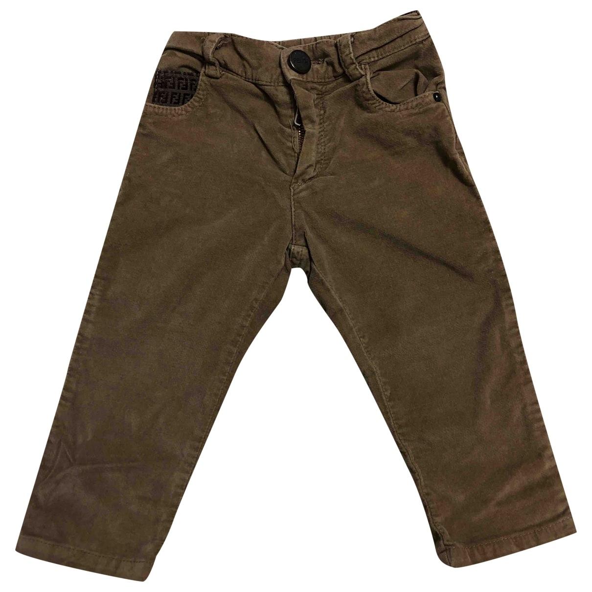 Fendi \N Ecru Velvet Trousers for Kids 12 months - up to 74cm FR