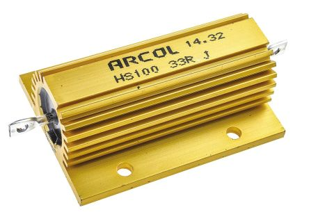 Arcol HS100 Series Aluminium Housed Axial Wire Wound Panel Mount Resistor, 33Ω ±5% 100W
