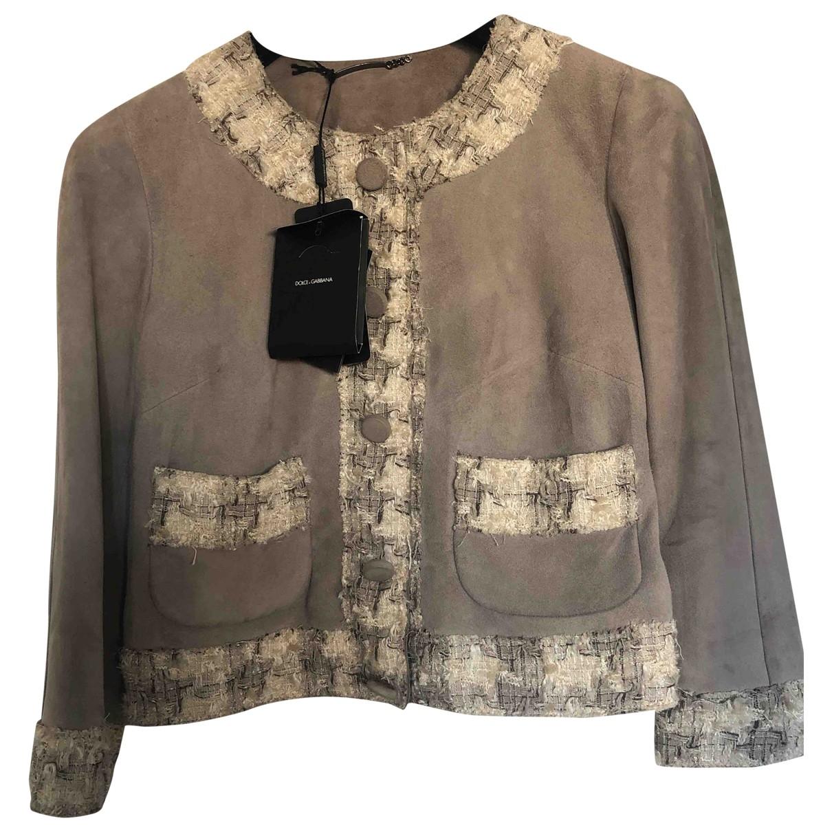 Dolce & Gabbana \N Lederjacke in  Grau Veloursleder