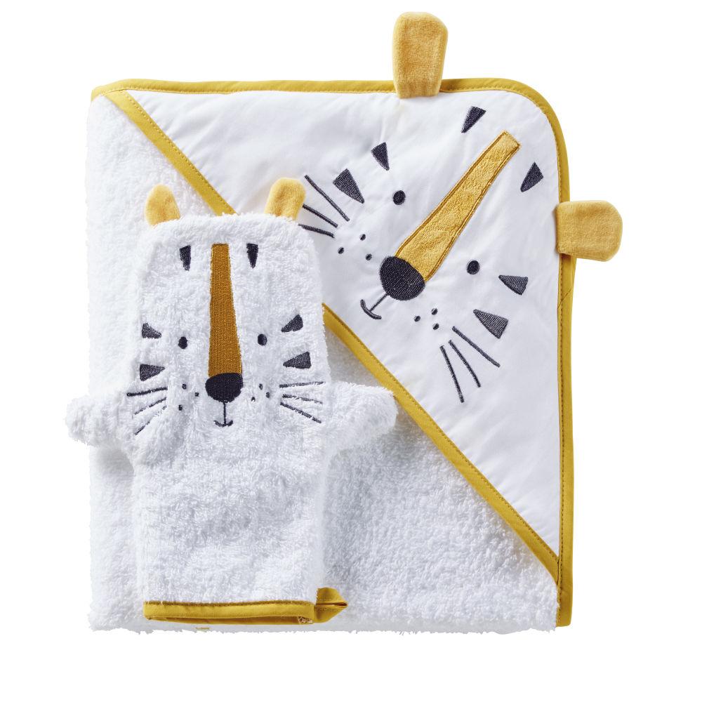 Babybadetuch aus Baumwolle, weiss mit Tigerkopf in Senfgelb und Schwarz